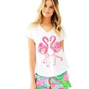 EUC Lilly Pulitzer Flamingo Colie T-Shirt Size XS